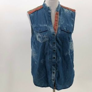 Very J western embroidered sleeveless button up S